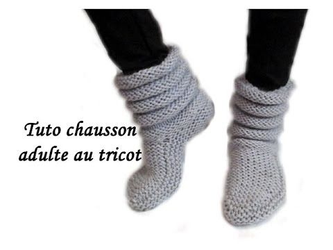 tuto complet chausson chaussette adulte au tricot facile adult slipper sock knitting tricots. Black Bedroom Furniture Sets. Home Design Ideas