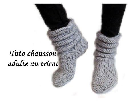 modele chausson au tricot adulte