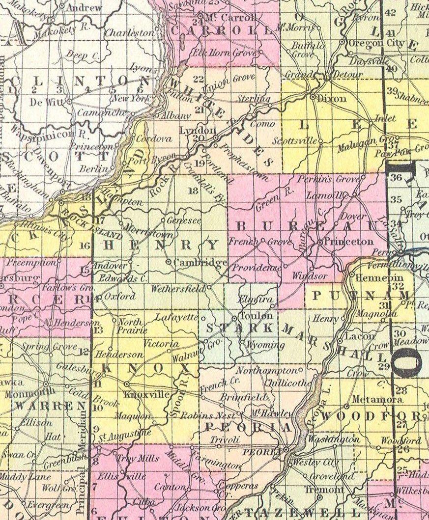 Kewanee Illinois Map.1850 Illinois Map Showing Wethersfield Illinois Pre Kewanee