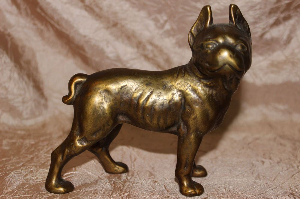 Antique Brass Dog Bank Coin Figural Boston Terrier French Bulldog Pit Vintage