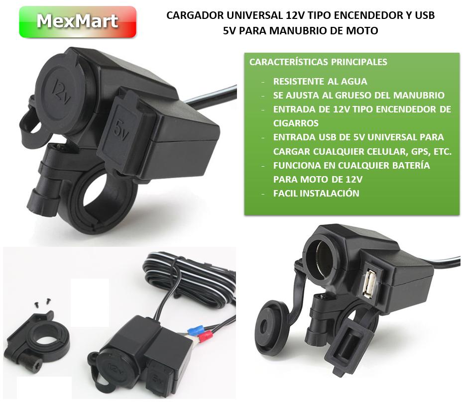 Cargador Usb Y Encendedor Para Moto Celular Gps Iphone Op4 - $ 199.00