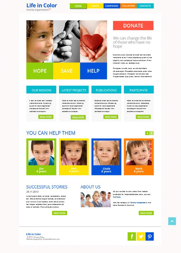 Free Responsive HTML5 Template for Charity Project http://www ...