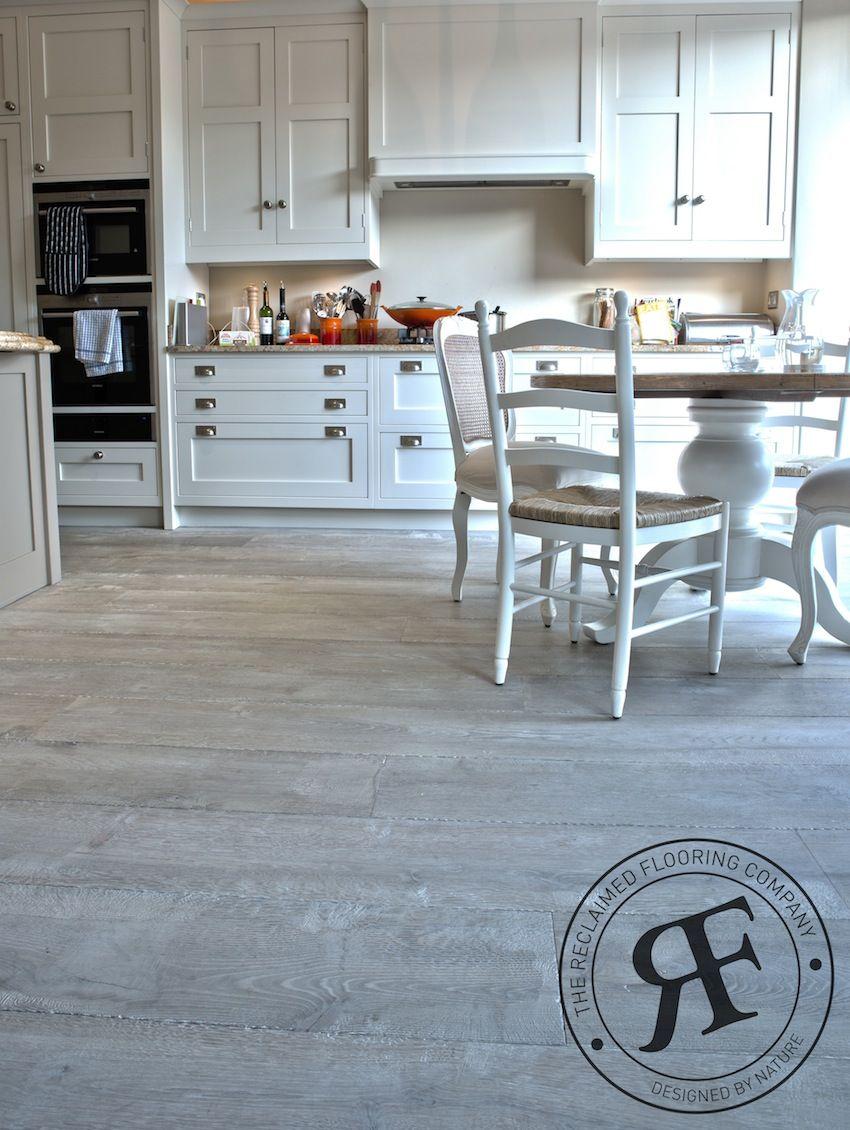 Weathered driftwood grey oak floor in kitchen kitchen for Kitchen laminate flooring