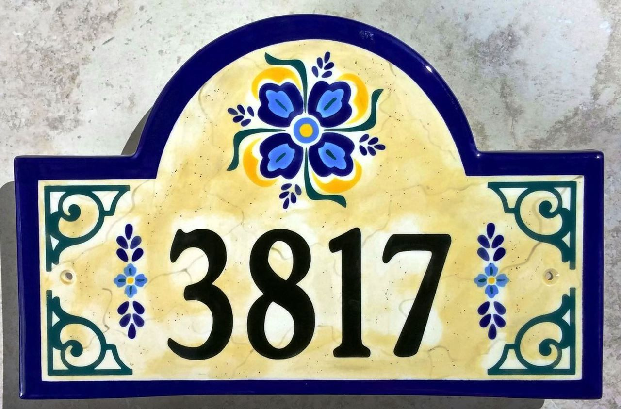 Old spanish house number plaque our hand painted address old spanish house number plaque dailygadgetfo Gallery