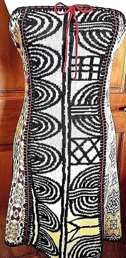 Anthro Cecilia Prado Tamanho Knit Bustier Body Con Dress Abstract Metallic M #CeciliaPrado #StretchBodycon #Cocktail