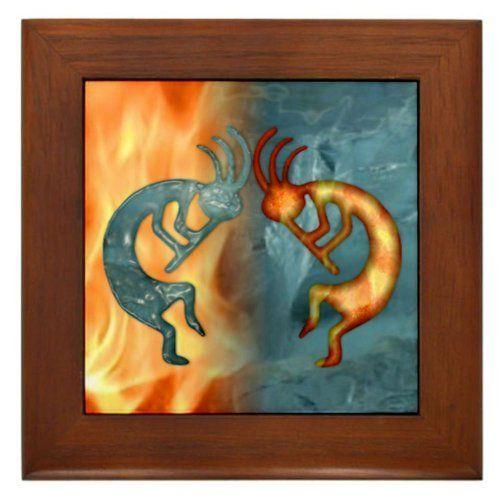 Decorative Tile Frames Kokopelli Fire And Ice New Framed Tilecafepresscafepress