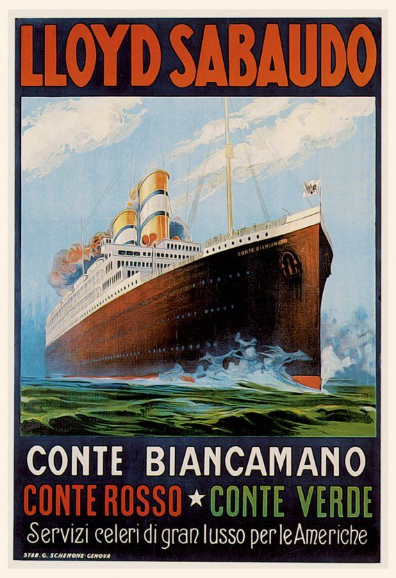 Vintage German Cruise Line Poster 1930/'s
