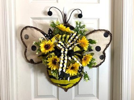 Photo of 20-026 Bumble Bee door hanger, bee wreath, whimsical wreath, bee decor, sunflowers, wreath with bumb