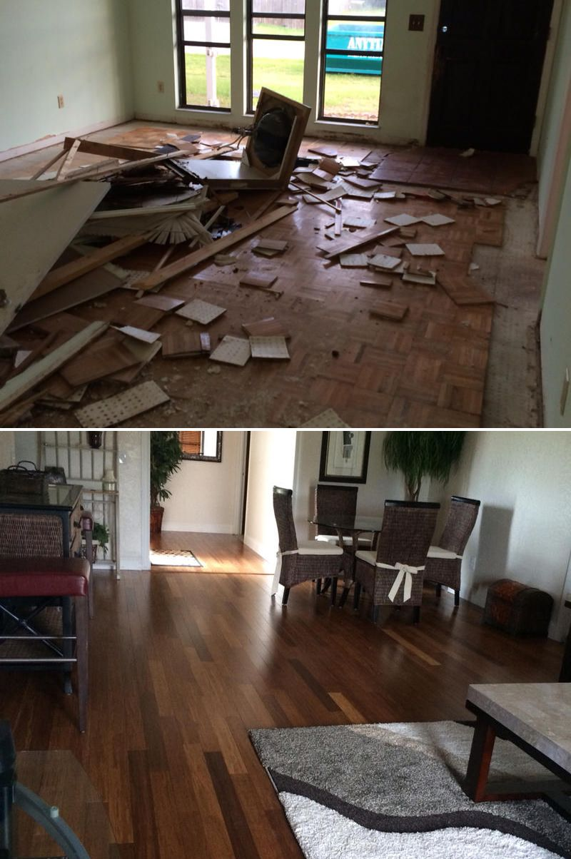 """Family Room Flip! """"It was a complete remodel. We couldn't be happier with are Bamboo floors...our friends and family love the floor."""" - Mike, FL"""