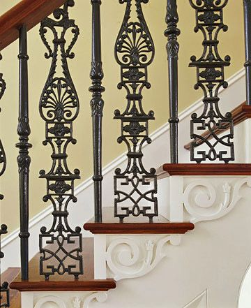 23 Must See Staircase Railing Designs Wrought Iron Stairs   Cast Iron Staircase Railing   Exterior   Spanish Style   Walnut Iron   Balcony   Ornamental