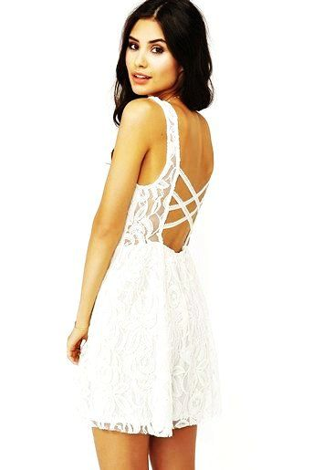 Charming Lace Low Back Dress - White Lace Low Back Dress