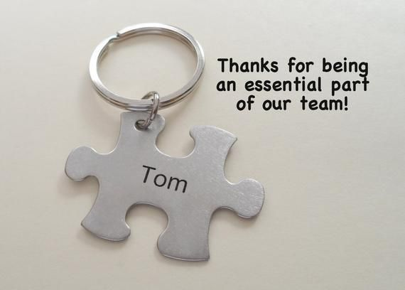 Employee Appreciation Gift Keychain, Puzzle Charm Keychain, Employee Gift, Coworker Gift, Work Team Gift, Thank you Gift, Teacher Gift #employeeappreciationideas