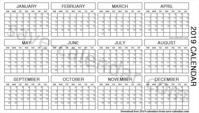 2019 Calendar In One Page Calendar, 2019 calendar
