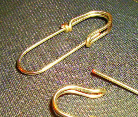Gold Plate Open Loop Safety pin earrings shawl by WickedlyWired