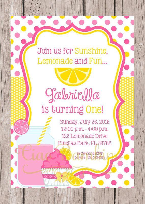 First Birthday Girl 1st Birthday Girl Invite with FREE Thank You Card Printable Lemonade Theme Birthday Party Invitation