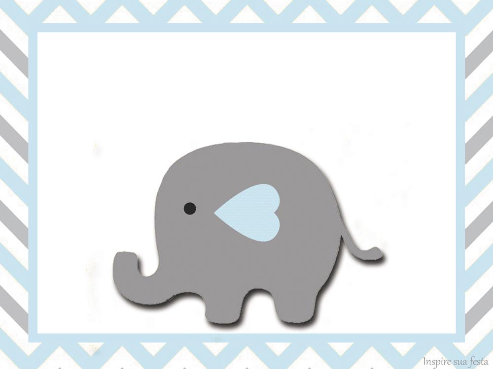 Elefante Bebé En Celeste Y Gris: Invitaciones Y Etiquetas
