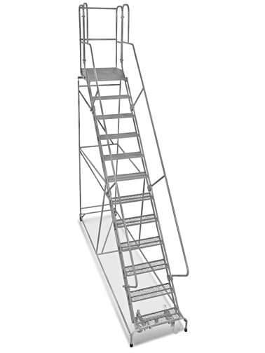 12 Step Safety Angle Rolling Ladder Unassembled With 24 Top Step H 5210 24 Uline Rolling Ladder Ladder Step Ladders