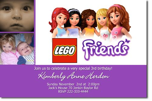 Lego Friends Birthday Party Invitations ALL COLORS Get these – Create Invitations Online Free No Download