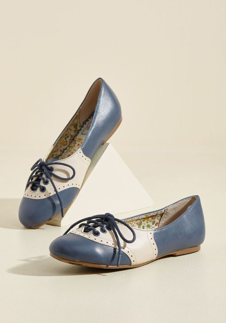 28e33dc2e45b4 1950s Style Shoes Study Buddies Oxford Flat in Navy in 6 - Flat - 0-1 by  Bettie Page from ModCloth  59.99 AT vintagedancer.com