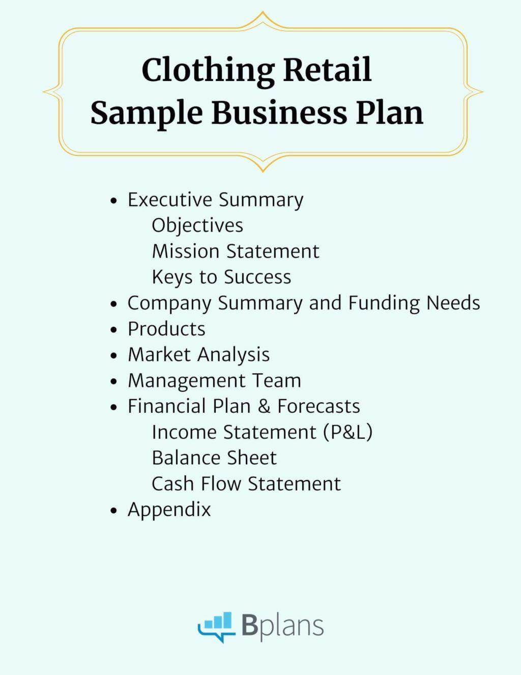 Clothing Retail Sample Business Plan Bplans pertaining