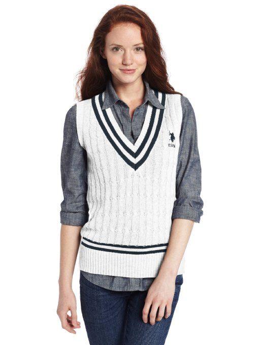 Amazon.com  U.S. Polo Assn. Juniors Sleeveless V-Neck Cable Tip Pullover   Clothing 38601649e