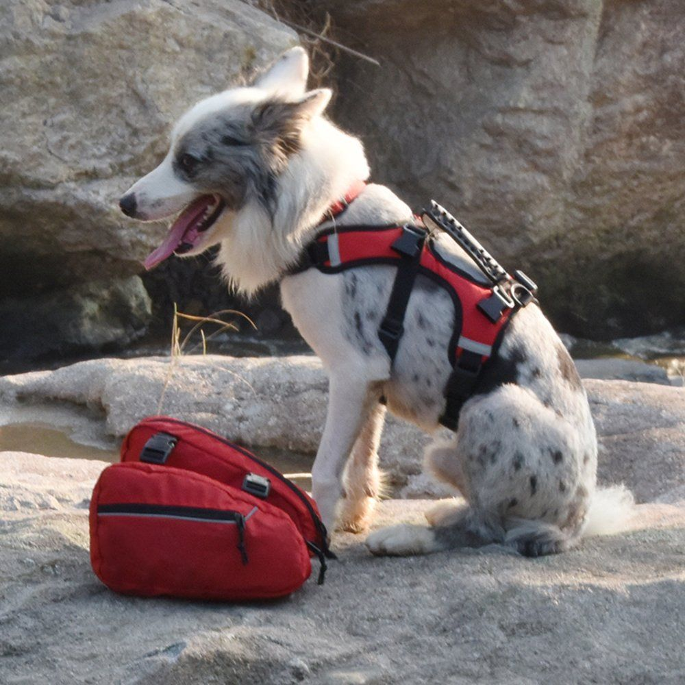 Asocea Service Dog Vest Harness Saddlebags Backpack With 2