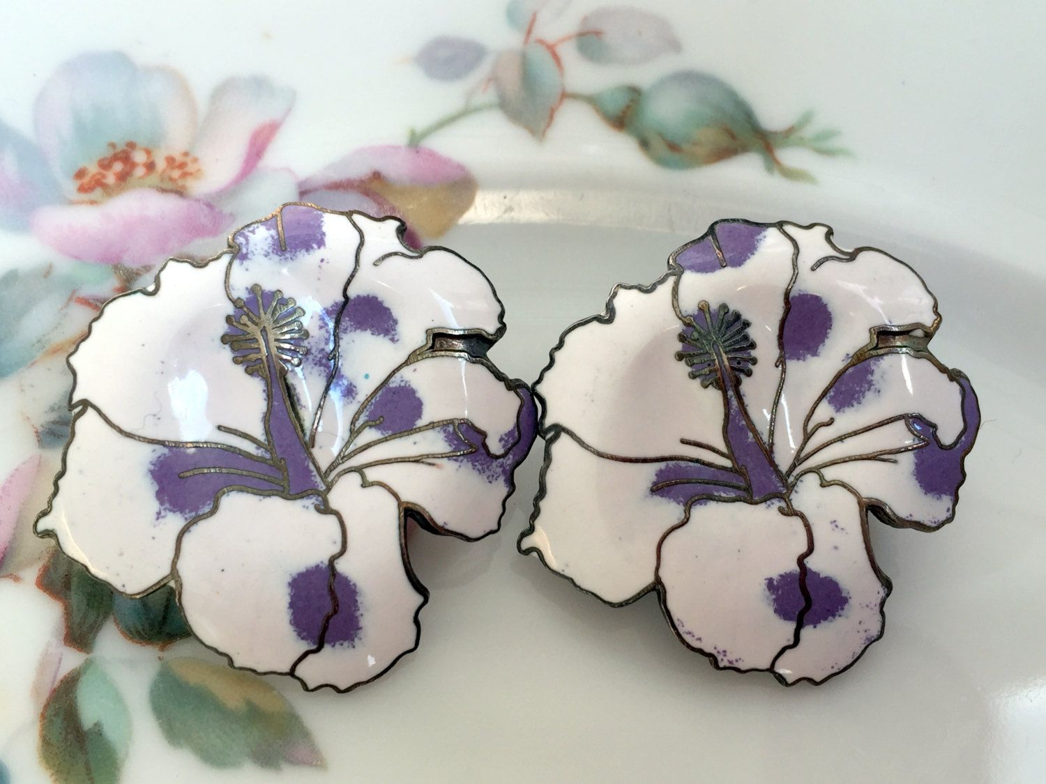 Vintage 80's Enamel Orchid Flower Earrings Tropical purple and White by…