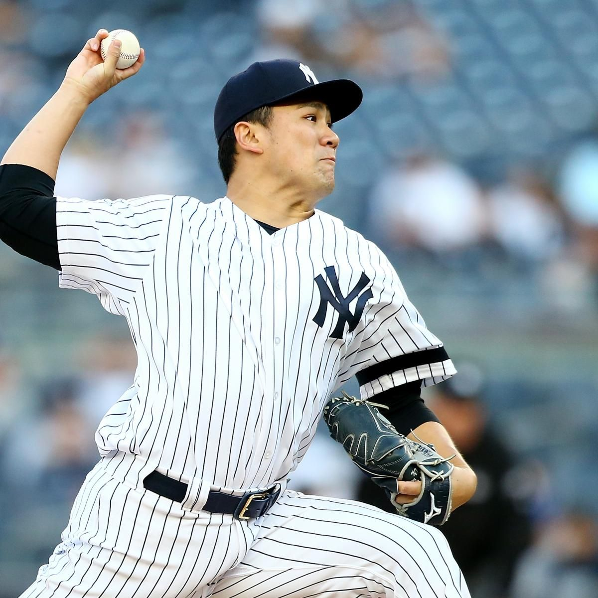 New York Yankees Pitcher Masahiro Tanaka Exited Saturday S Game Against The Tampa Bay Rays Through Six Innings After Taking Yankees New York Yankees Ny Yankees