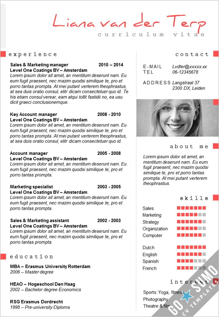 cv template paris