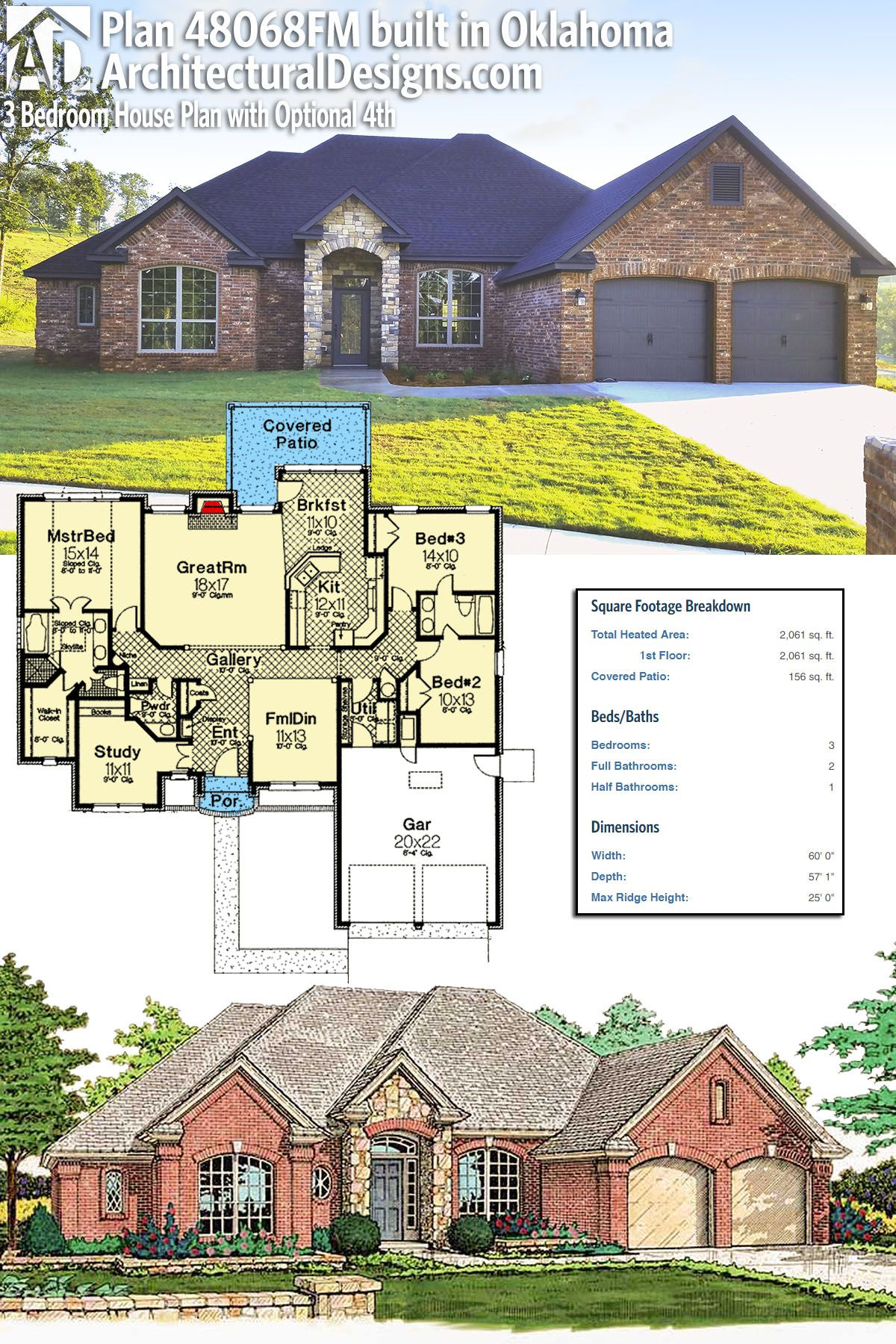 Plan 48068fm 3 Bedroom House Plan With Optional 4th Architectural Design House Plans House Plans Bedroom House Plans