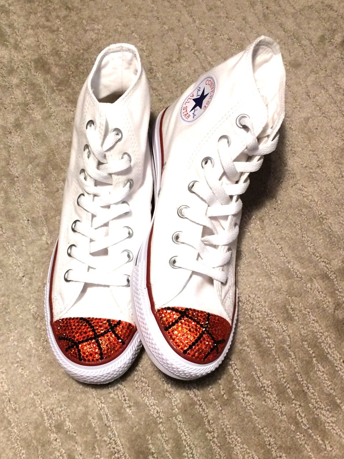 b94518b8265ea Basketball Bling Converse High Tops White. Custom Made Converse Women s  Shoes. Basketball Players