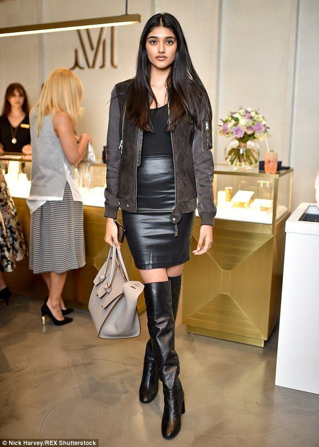 Neelam Gill looks leggy as she works leather thigh high boots ...