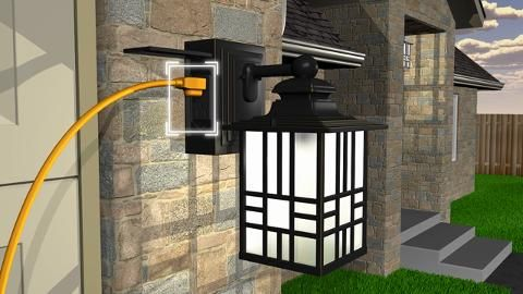 Hampton Bay Mission Style Black With Bronze Highlight Outdoor Wall Lantern With Built In Electrical Outlet Gfci 30264 The Home Depot In 2020 Porch Lighting Outdoor Porch Lights Outdoor Light Fixtures