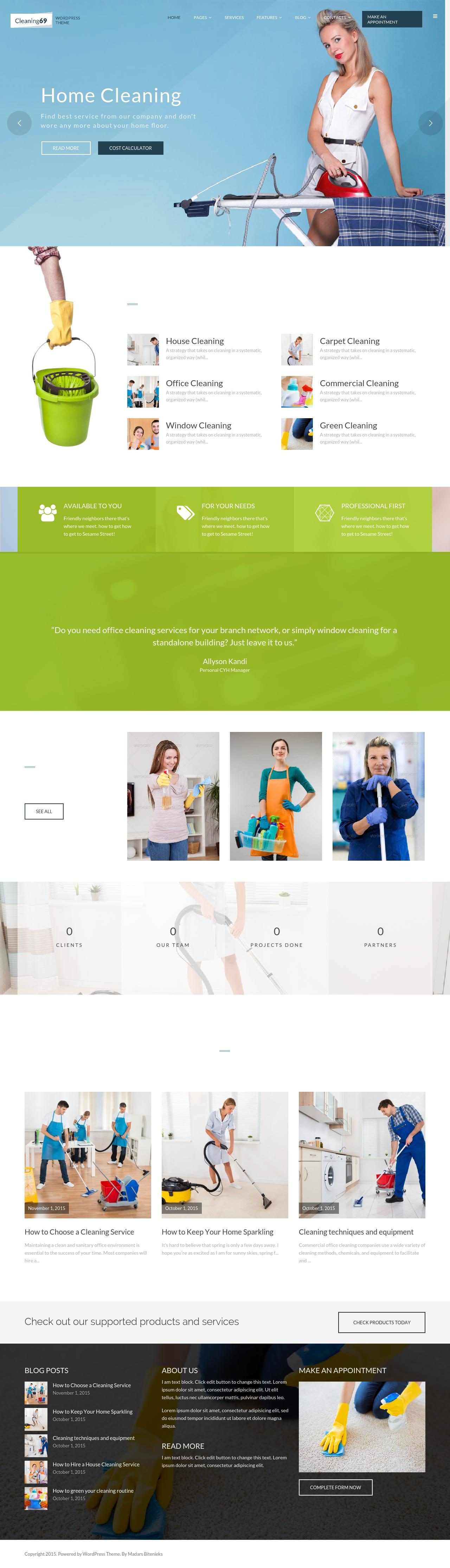 Cleaning69 responsive WordPress theme aimed for architect, #plumber