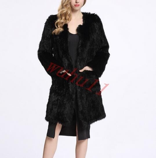 Luxury Women Thick Knitted Rabbit Fur Coat Jacket Black Long Jacket Round Neck