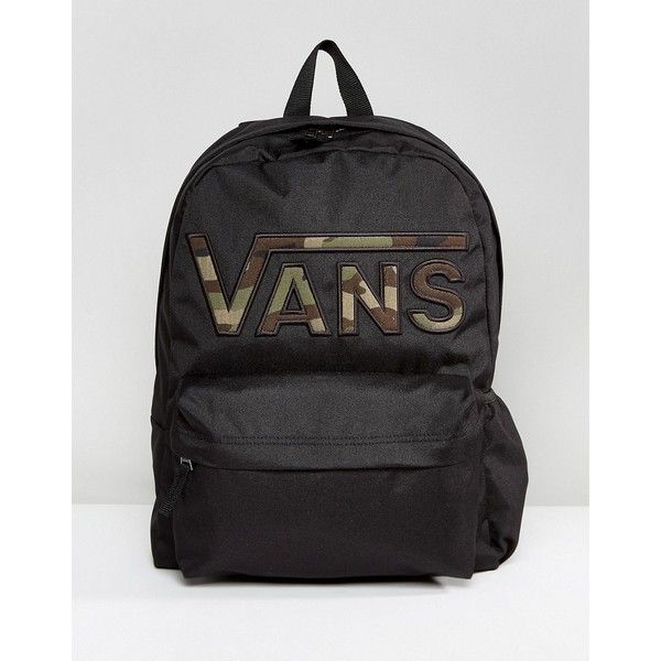 8531d4f484 Vans Realm Flying V Camo Backpack In Black (£35) ❤ liked on Polyvore  featuring bags