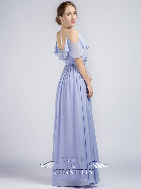 f1d1e1e1fe7a Elegent Long Light Purple Ruffled Off Shoulder Passion Chiffon Bridesmaid  Dress 4