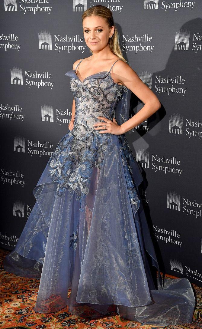 Kelsea Ballerini in a blue Zac Posen dress