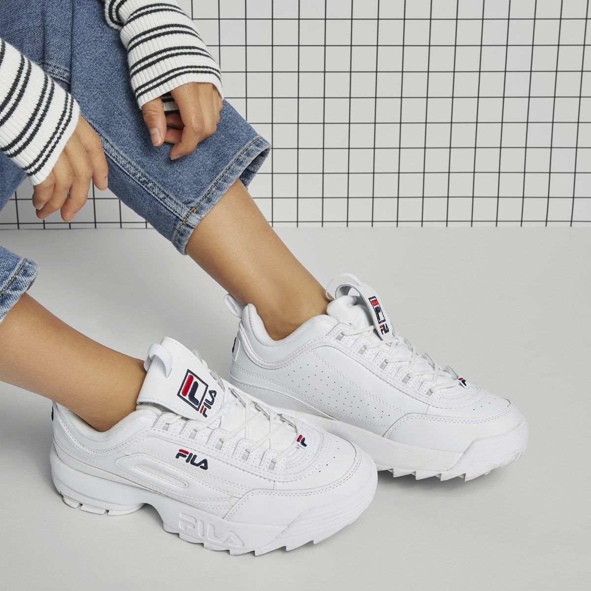 Women's Disruptor II Premium Sneakers in White Fila hvit  Fila white