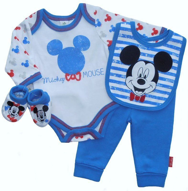 Mickey Mouse 4 Piece Baby Boy Layette Clothing Gift Set By Disney 1 3 6 Months Disney Baby Clothes Baby Shower Gifts For Boys Baby Boy
