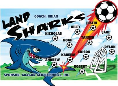 Sharks-Land-45393  digitally printed vinyl soccer sports team banner. Made in the USA and shipped fast by BannersUSA. www.bannersusa.com