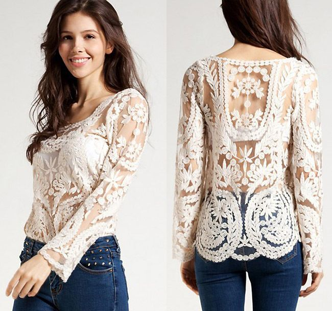 f1826510d1bc8d Find More T-Shirts Information about 2014 Dress Sweet Semi Sexy Sheer Long  Sleeve Embroidery