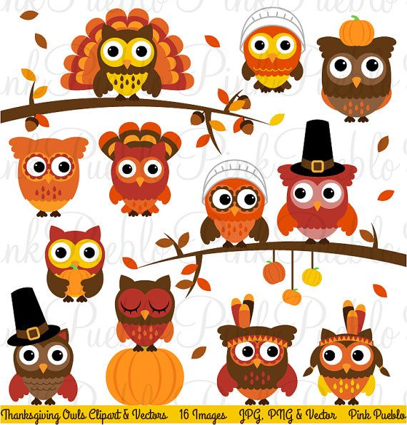 Thanksgiving Owl Clipart Clip Art Happy Thanksgiving Owl Etsy In 2021 Thanksgiving Owl Owl Clip Art Owl Collection