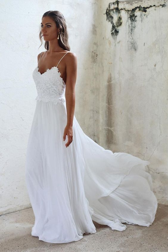 Boho Beach Wedding Dresses Y Summer Spaghetti Straps Open Backs Lace White Gown