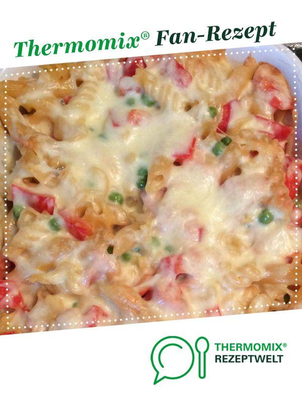 Schinken-Gemüse-Nudelauflauf mit Käse-Sahnesauce