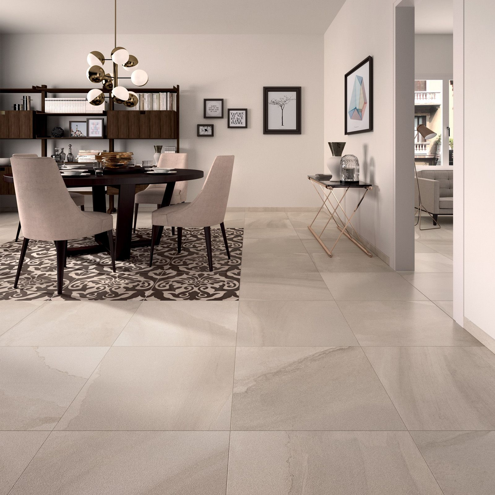 Modern Elegant Dining Space Idea Fluido Floor Tile Collection From Abk Dining Room Floor Dining Room Design Tile Floor