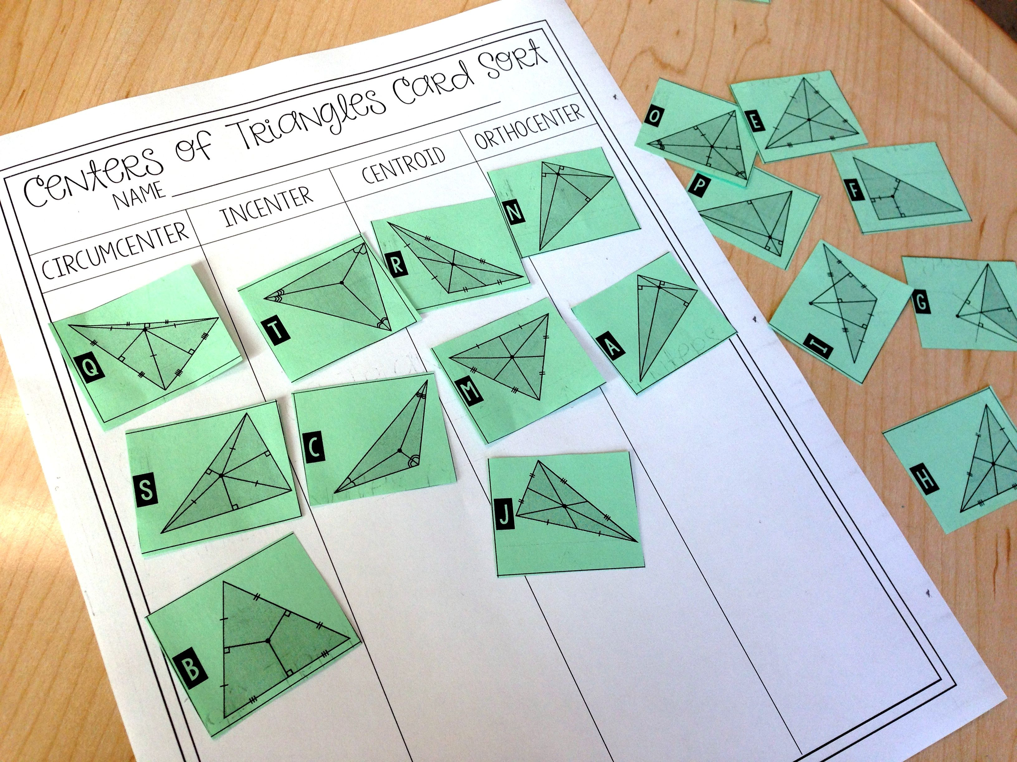 Centers Of Triangles Card Sort Triangle Worksheet Sorting Cards Geometry Interactive Notebook