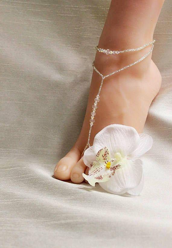 752c5bd3a58 Swarovski Beach Wedding Barefoot Sandals Swarovski Barefoot Sandals Bridal  Foot Jewelry Barefoot San