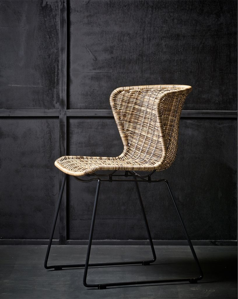 Dining chair wings polyester rattan like bucket seat model with ...