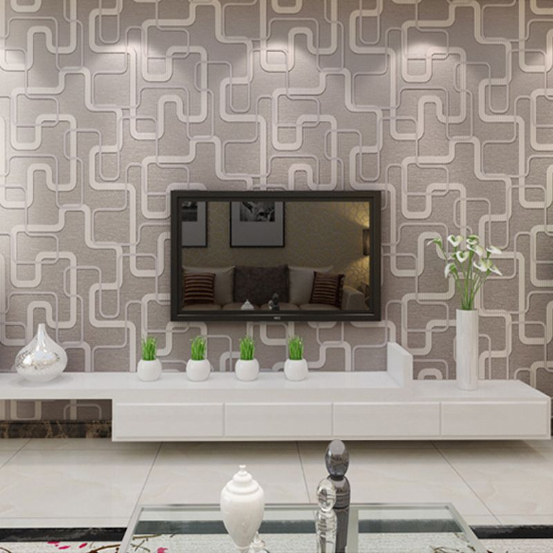 Modern Grid 3d Wallpaper Simple Non Woven Wallpapers Home Decor